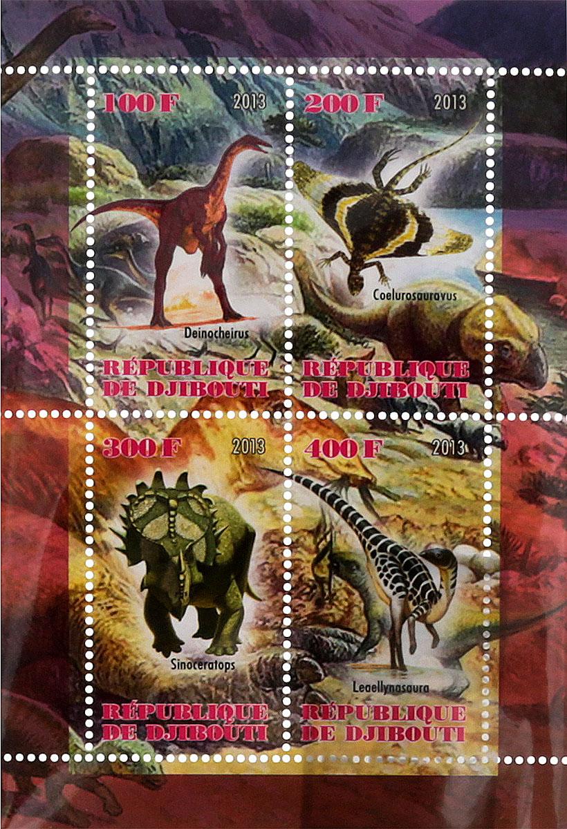 Почтовый блок в 4 марки Динозавры. Джибути, 2013 годМКСПБ 41-2016.18Почтовый блок в 4 марки Динозавры. Джибути, 2013 год. Размер блока: 7.5 х 10.7 см. Размер марок: 2.5 х 4.5 см. Сохранность хорошая.