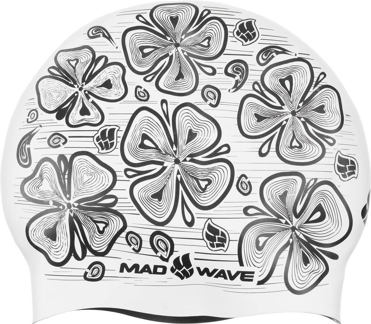 """Шапочка для плавания MadWave """"Reverse Flora"""", силиконовая, двусторонняя, цвет: зеленый M0552 08 0 10W"""