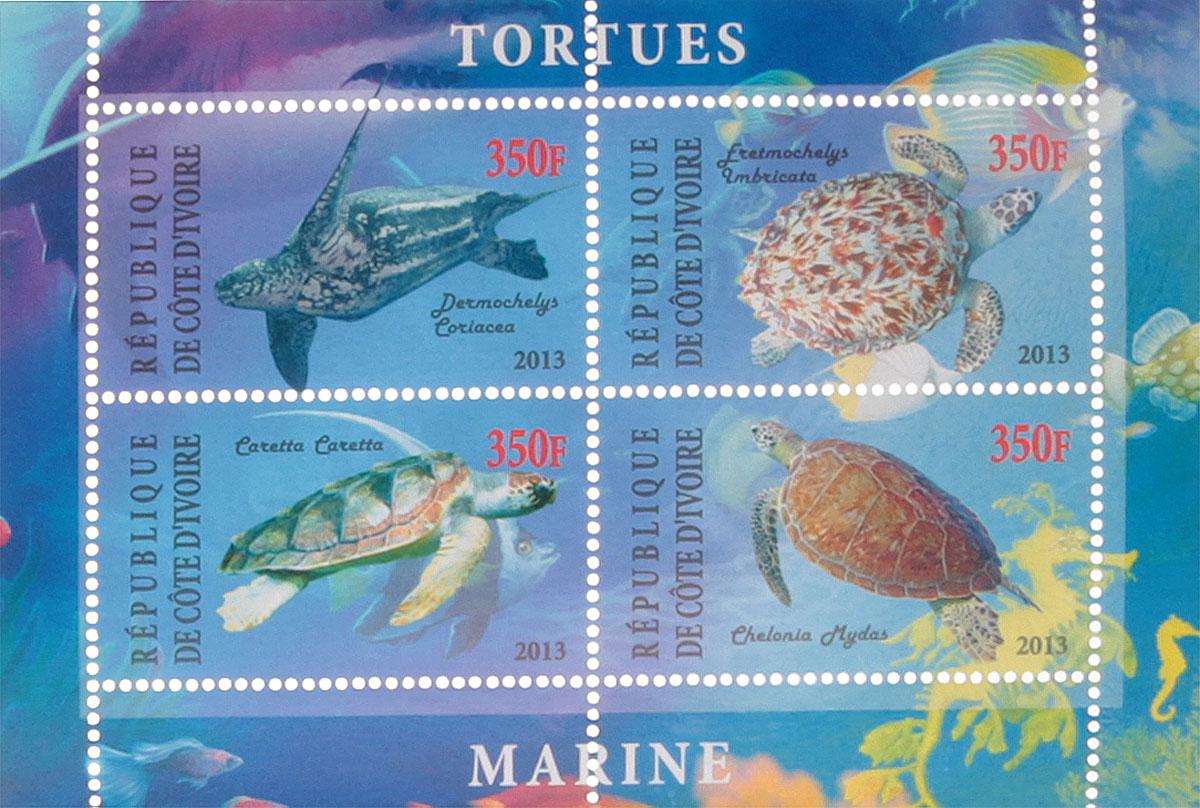 3 Почтовый блок в 4 марки Морские черепахи - 1. Кот-дИвуар, 2013 годМКСПБ 41-2016.03
