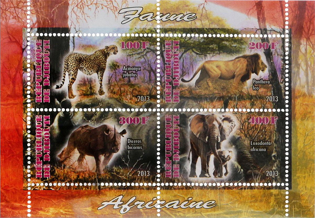 41 Почтовый блок в 4 марки Дикие африканские звери - лев, слон, носорог, ягуар. Джибути, 2013 годМКСПБ 41-2016.41
