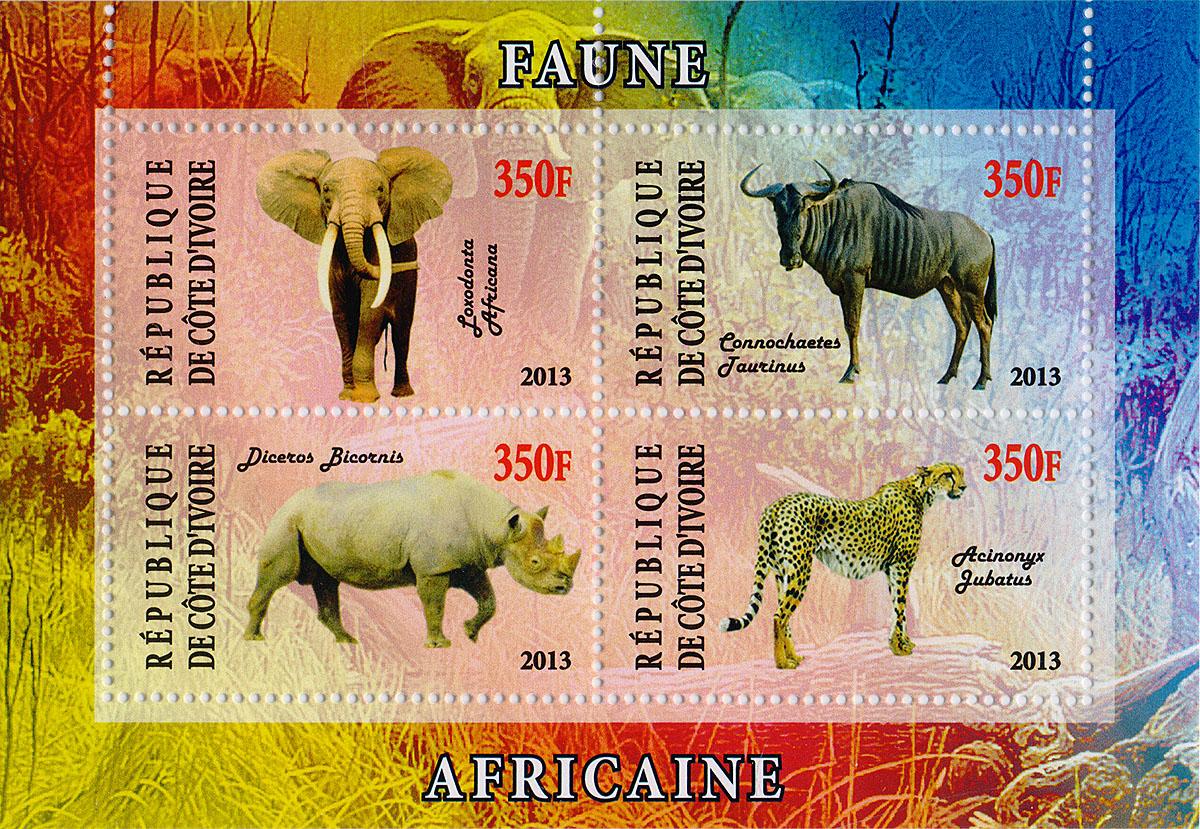 Почтовый блок в 4 марки Дикие африканские звери - 2. Кот-дИвуар, 2013 годМКСПБ 41-2016.02