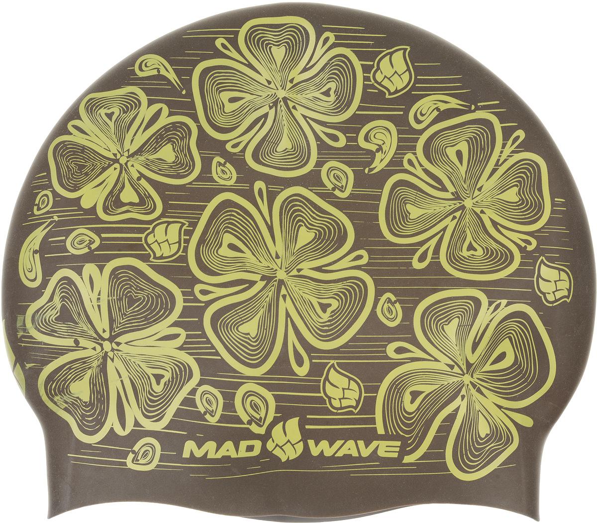 """Шапочка для плавания MadWave """"Reverse Flora"""", силиконовая, двусторонняя, цвет: серый, коричневый M0552 08 0 17W"""