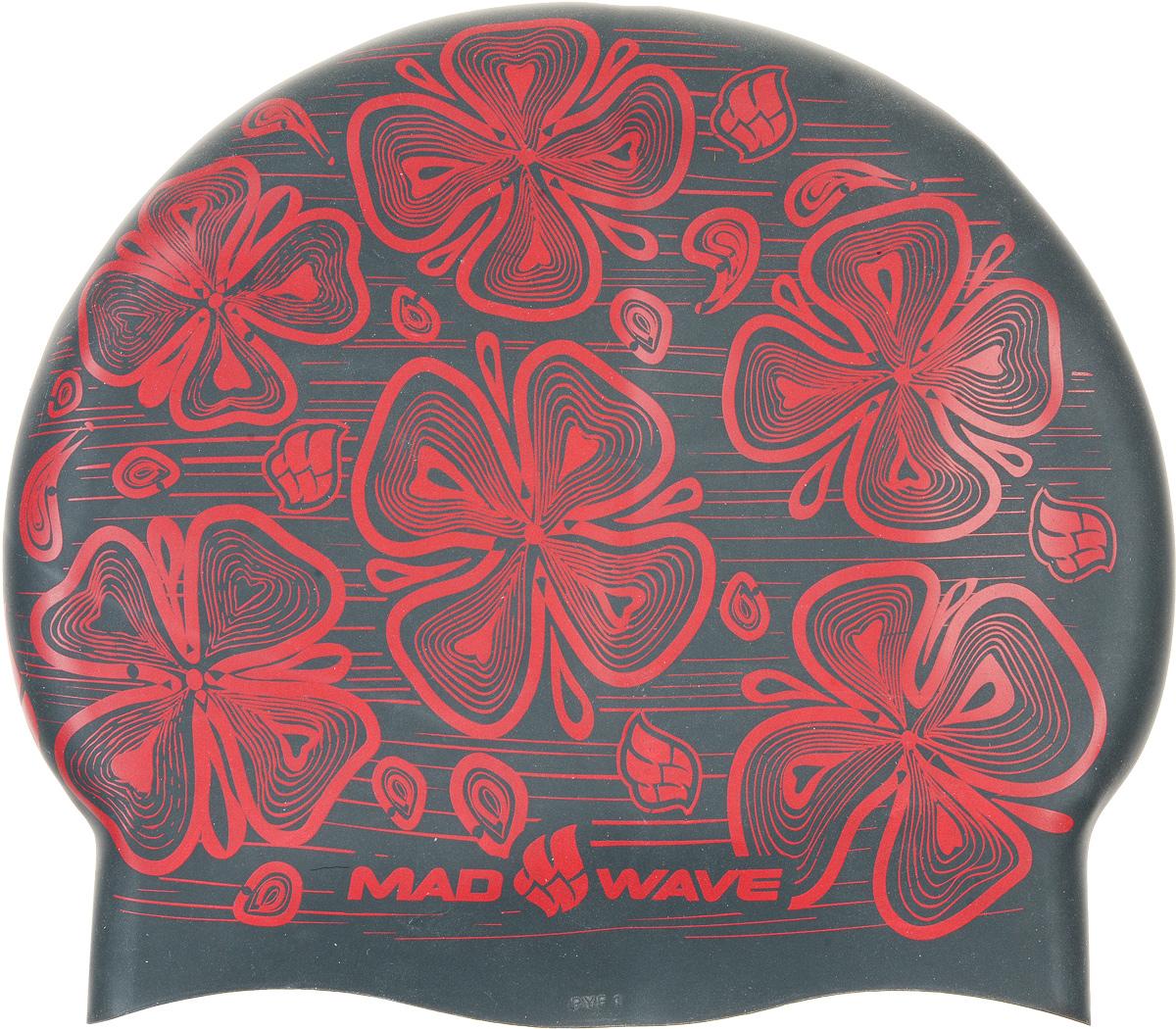 """Шапочка для плавания MadWave """"Reverse Flora"""", силиконовая, двусторонняя, цвет: черный, серый M0552 08 0 01W"""