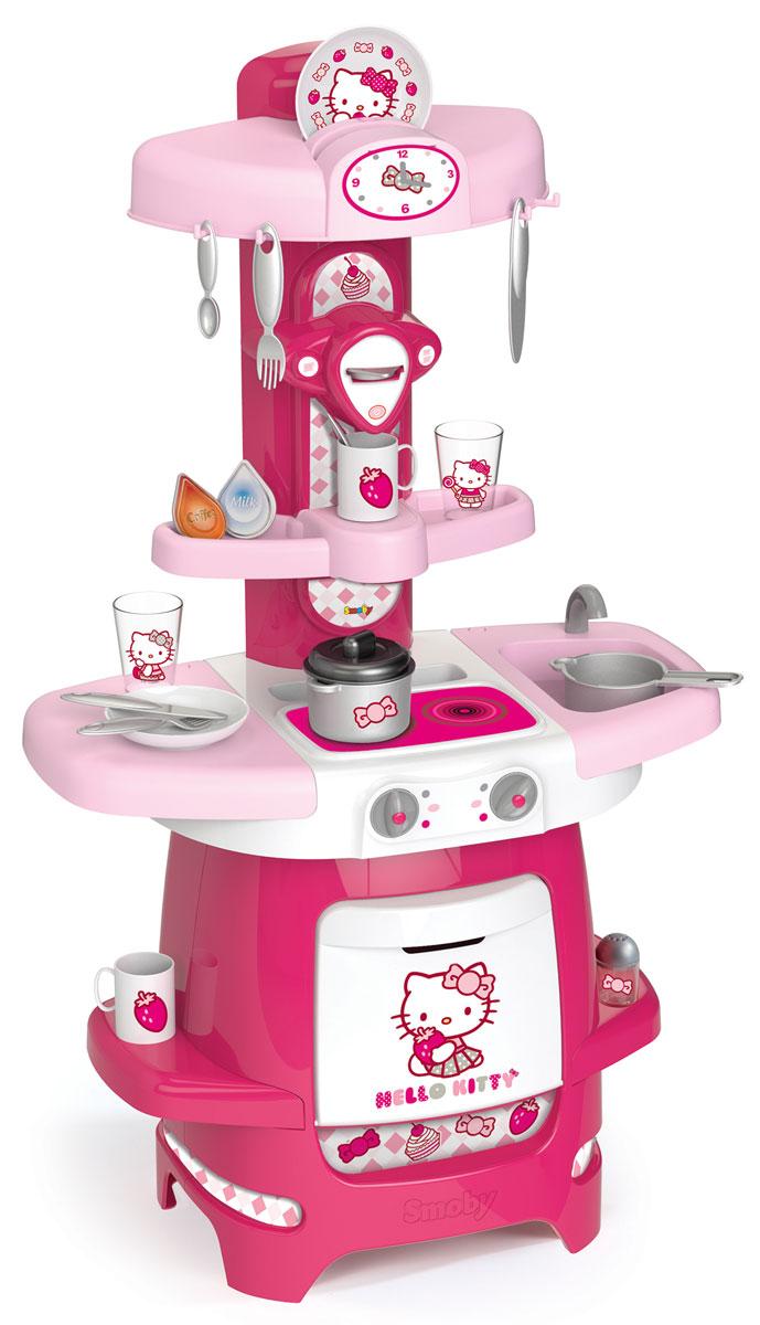 Smoby Игрушечная кухня Hello Kitty24087Игрушечная кухня Smoby Hello Kitty представлена в розово-белом цвете с обожаемой кошечкой Хелло Китти. Девочки с удовольствием будут постигать основы кулинарии и гостеприимства на такой замечательной кухне. Все куклы и плюшевые игрушки будут накормлены досыта, напоены чаем, после чего все дружно отправятся на тихий час вместе с хозяюшкой. С таким набором у ребенка появится огромный простор для сюжетно-ролевых игр. Кухня оборудована плитой с двумя конфорками. Каждая мелочь продумана: столешница с мойкой и краном, встроенная духовка, полочки для продуктов и посуды, крючки для подвешивания кухонных принадлежностей и других мелочей. Столешница раздвигается в стороны, и игровое пространство увеличивается, под столешницей имеется место для хранения столовых приборов. В наборе также имеются: кастрюля с крышкой, ковшик, 2 стакана, 2 чашки, 2 тарелки, 2 вилки, 2 ножа, 2 ложки и другие аксессуары. Захватывающая сюжетно-ролевая игра не только развлекает ребенка, но и производит такие...