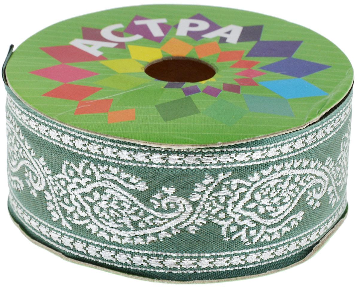 Тесьма декоративная Астра, цвет: серо-зеленый, серебряный (172), ширина 4 см, длина 16,4 м. 77033867703386_172/сереброДекоративная тесьма Астра выполнена из текстиля и оформлена оригинальным орнаментом. Такая тесьма идеально подойдет для оформления различных творческих работ таких, как скрапбукинг, аппликация, декор коробок и открыток и многое другое. Тесьма наивысшего качества и практична в использовании. Она станет незаменимым элементом в создании рукотворного шедевра. Ширина: 4 см. Длина: 16,4 м.
