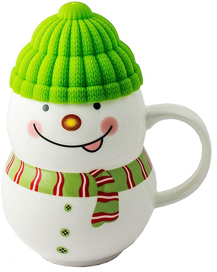 Кружка-снеговик Эврика Растопи лед, цвет: зеленый96952Порадовать близкого человека, растопить холод в отношениях, заставить его улыбнуться поможет кружка в виде симпатичного снеговичка, если наполнить её горячим напитком и преподнести любимому. Силиконовая шапочка выполняет роль крышки и предохраняет напиток от остывания. Милая нарисованная мордашка и цветной шарфик делают образ завершенным.