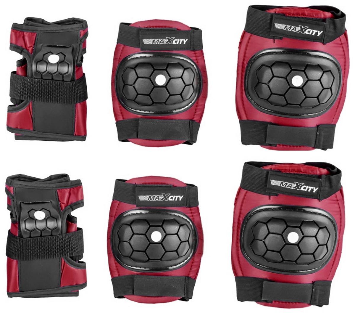 Защита роликовая MaxCity Match, цвет: красный, черный. Размер S2770960254116Защита роликовая MaxCity Match как нельзя лучше подойдет вашему ребенку. Защита предназначена для комфортного и безопасного катания на роликовых коньках. Состоит из налокотников, наколенников и защиты запястий. Каждый из этих элементов выполнен из качественных материалов, жестких снаружи и эластичных внутри. Двухкомпонентная система с внутренними вставками из этилвинилацетата поглощает энергию удара, снимает нагрузку с суставов и, таким образом, снижает риск получения травмы. Отличная подгонка достигается за счет анатомической формы и использования эластичных материалов. Защита комфортна при ношении, так как материал принимает форму руки или ноги. Размер наколенников: 12,5 х 12 х 3 см. Размер налокотников: 14,5 х 11 х 3 см. Размер защиты запястья: 13,5 х 8 х 5 см.