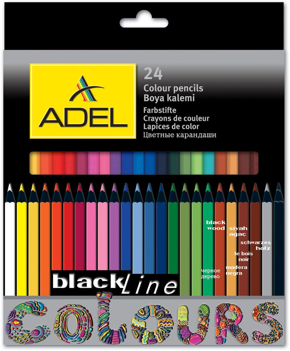 Adel Набор цветных карандашей Blackline PB 24 шт 211-2362-000211-2362-000Цветные карандаши Adel Blackline PB созданы специально для маленькой детской руки. Специальная технология проклейки карандаша предотвращает повреждение грифеля при падении. Набор состоит из 24 легко затачиваемых карандашей ярких цветов. Не рекомендуется детям до 3-х лет.