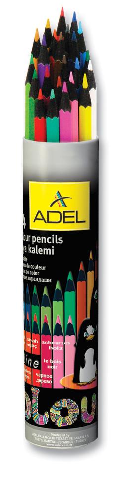 Adel Набор цветных карандашей Blackline PB 24 цвета 211-2362-003211-2362-003Карандаши цветные Adel BlacklinePB 211-2362-003 черное дерево 3мм 24 цвета корпус цветной, в алюминиевом тубусе