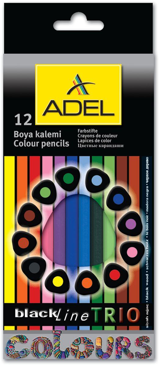 Adel Набор цветных карандашей Blackline PB Trio 12 цветов211-3312-000Карандаши цветные Adel BlacklinePB Trio 211-3312-000 трехграный корпус из черного дерева, 3мм 12 цветов, корпус цветной