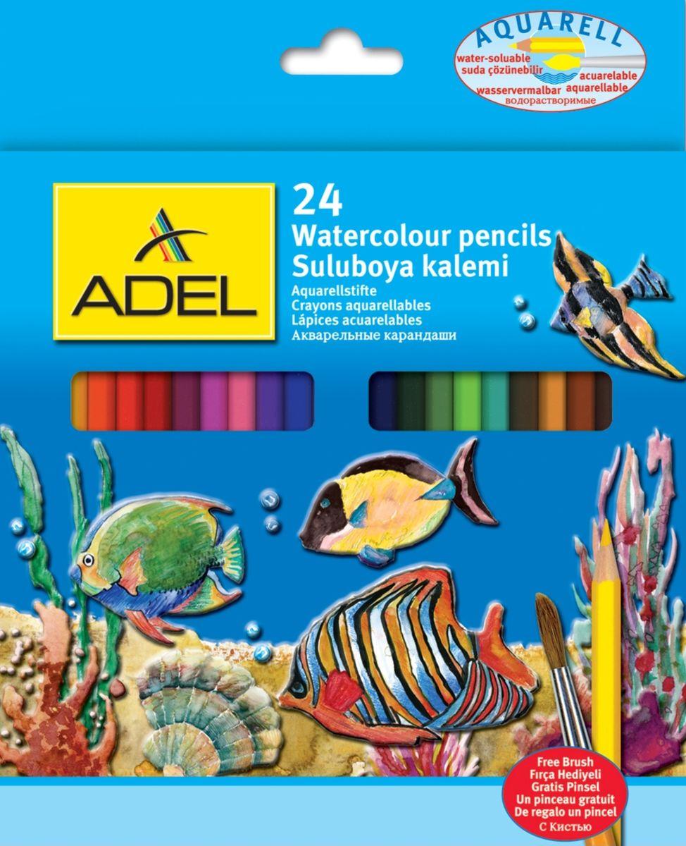 Adel Набор цветных карандашей Aquacolor с кисточкой 24 цвета216-2660-000Карандаши цветные Adel Aquacolor 216-2660-000 акварельные 3мм 24 цвета с кисточкой в картонной коробке