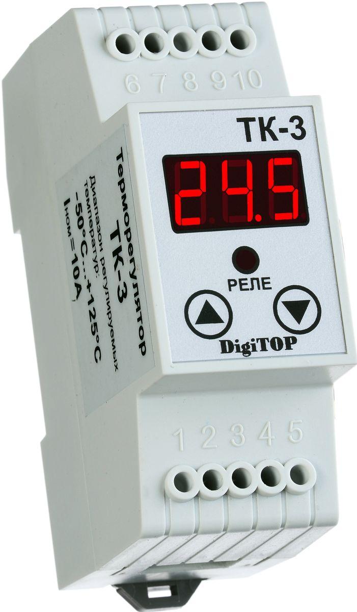 Терморегулятор DigiTOP ТК-300000000024Терморегулятор (Регулятор температуры) с одним датчиком температуры. Отслеживает температуру по одному каналу (датчику) с отображением ее текущего значения на цифровом светодиодном индикаторе. Максимум комфорта и функциональности по минимальной цене. Для поддержания необходимой температуры пользователь устанавливает: - значение поддерживаемой температуры; - допустимое отклонение от нее (гистерезис); - режим работы (нагрев или охлаждение). Основные особеннсоти: - Полностью цифровое управление. - Одноканальный терморегулятор; - Индикация контролируемой температуры; - Два режима – нагрев или охлаждение. - Модульное исполнение для крепления на монтажный профиль TS-35 (DIN-рейку 35мм). - Точность измерения – 0.5°С. - Датчик температуры – в комплекте.