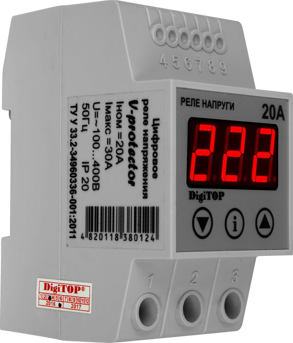 Реле напряжения DigiTOP Vp-20A00000000029Устройство защиты постоянно анализирует напряжение в сети и в случае выхода напряжения за установленные пределы происходит аварийное отключение потребителей. Для этого пользователь устанавливает необходимые верхний и нижний пределы напряжения и время, через которое РЕЛЕ НАПРЯЖЕНИЯ подключит нагрузку, после нормализации напряжения. Задержка на включение необходима для холодильников, кондиционеров, для которых неприемлемы кратковременные отключения питания. Основные особенности: - Полностью цифровое управление. - Табло индикации действующего значения напряжения. - Автоматическое включение нагрузки после нормализации напряжения. - Программируемая задержка на включение. - Программируемые значения верхнего и нижнего предела отключения напряжения. - Сброс значений на заводские установки. - Модульное исполнение для крепления на монтажный профиль TS-35 (DIN-рейку 35мм).