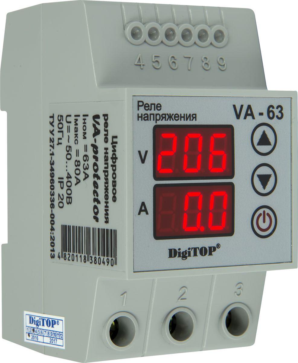 Реле напряжения DigiTOP VA-6300000000129Серия VA-protector – инновационное развитие серии Vp-protector. Реле напряжения (Устройства защиты по напряжению) предназначены для отключения подключенного электрооборудования, систем освещения и бытовой техники в случае возникновения «скачка» напряжения, что предотвращает их выход из строя и продлевает срок эксплуатации. Установка – на DIN-рейку во вводном щите на квартиру, дом, дачу, офис и тп.. Линейка приборов перекрывает все возможные запросы бытовых потребителей по мощности. Совмещает в себе функции 4-х приборов. Аналогов – нет. Максимум безопасности, удобства и технологичности при разумном вложении. Устройство защиты постоянно анализирует напряжение в сети и в случае выхода напряжения за установленные пределы происходит аварийное отключение потребителей. Для этого пользователь устанавливает верхний и нижний пределы напряжения и время, через которое РЕЛЕ НАПРЯЖЕНИЯ подключит нагрузку, после нормализации напряжения. Задержка на включение необходима для холодильников,...