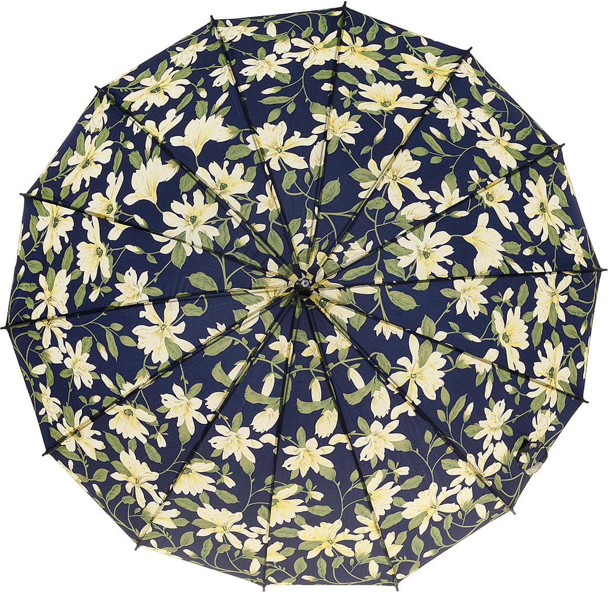 Зонт женский Kawaii Factory White Flowers, цвет: черный. KW042-000178KW042-000178Стильный черный зонт White Flowers от Kawaii Factory с цветочным принтом выглядит очень элегантно. Выразительный контрастный дизайн обеспечивает особый эффект объемной картинки. Удобная ручка, большой диаметр купола, красивый материал - все это в совокупности служит гарантией уверенности и дарит ощущение защищенности в ненастную погоду. Зонт практически неуязвим. Особо прочную конструкцию обеспечивают многочисленные спицы, образующие в раскрытом состоянии большой куполообразный каркас. Прочный женский зонт не будет предательски выгибаться даже под мощными порывами ветра, укрывая от дождя одного или двух человек. Это очень функциональный, и очень красивый аксессуар! Купол изготовлен из качественного нейлона, изделие дополнено удобной ручкой из пластика, которая выполнена в виде крючка. Также зонт имеет пластиковый наконечник, который устраняет попадание воды на стержень и уберегает зонт от повреждений. Изделие имеет полуавтоматический механизм сложения: купол...