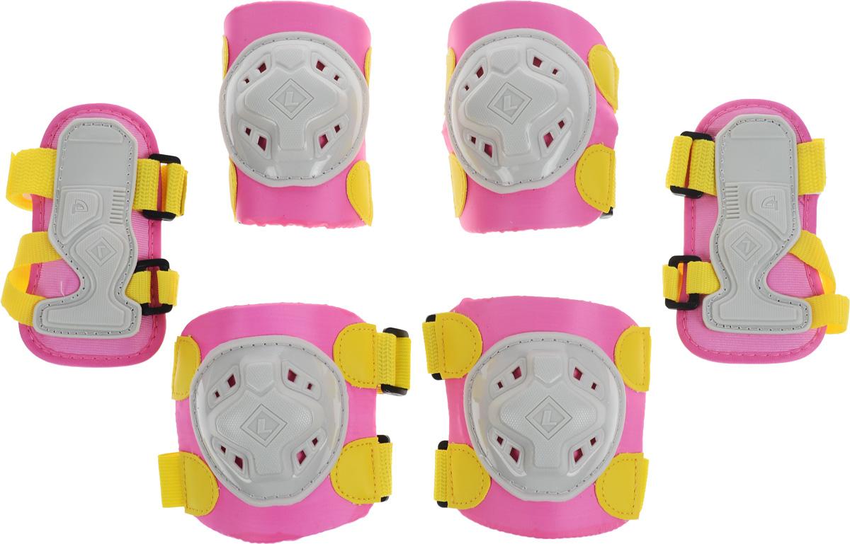 Защита роликовая MaxCity Game, цвет: розовый, желтый, серый. Размер S2770960549410Защита роликовая MaxCity Game как нельзя лучше подойдет вашему ребенку. Защита предназначена для комфортного и безопасного катания на роликовых коньках. Состоит из налокотников, наколенников и защиты запястий. Каждый из этих элементов выполнен из качественных материалов, жестких снаружи и эластичных внутри. Двухкомпонентная система с внутренними вставками из этилвинилацетата поглощает энергию удара, снимает нагрузку с суставов и, таким образом, снижает риск получения травмы. Отличная подгонка достигается за счет анатомической формы и использования эластичных материалов. Защита комфортна при ношении, так как материал принимает форму руки или ноги. Размер наколенников: 11 х 10,5 х 5 см. Размер налокотников: 11 х 8 х 6 см. Размер защиты запястья: 13 х 7 х 1 см.