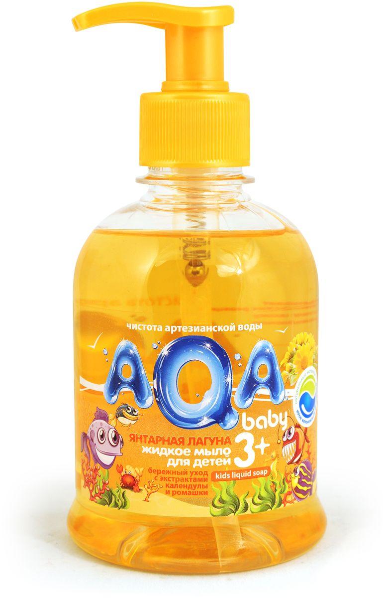 AQA baby Мыло жидкое Янтарная лагуна 300 мл02011203Жидкое мыло для детей «Янтарная лагуна» для ежедневной гигиены, сделано на основе воды из артезианского источника. Не сушит кожу, гипоаллергенно, с экстрактом календулы, с экстрактом ромашки. Без парабенов. Объем: 300 мл.