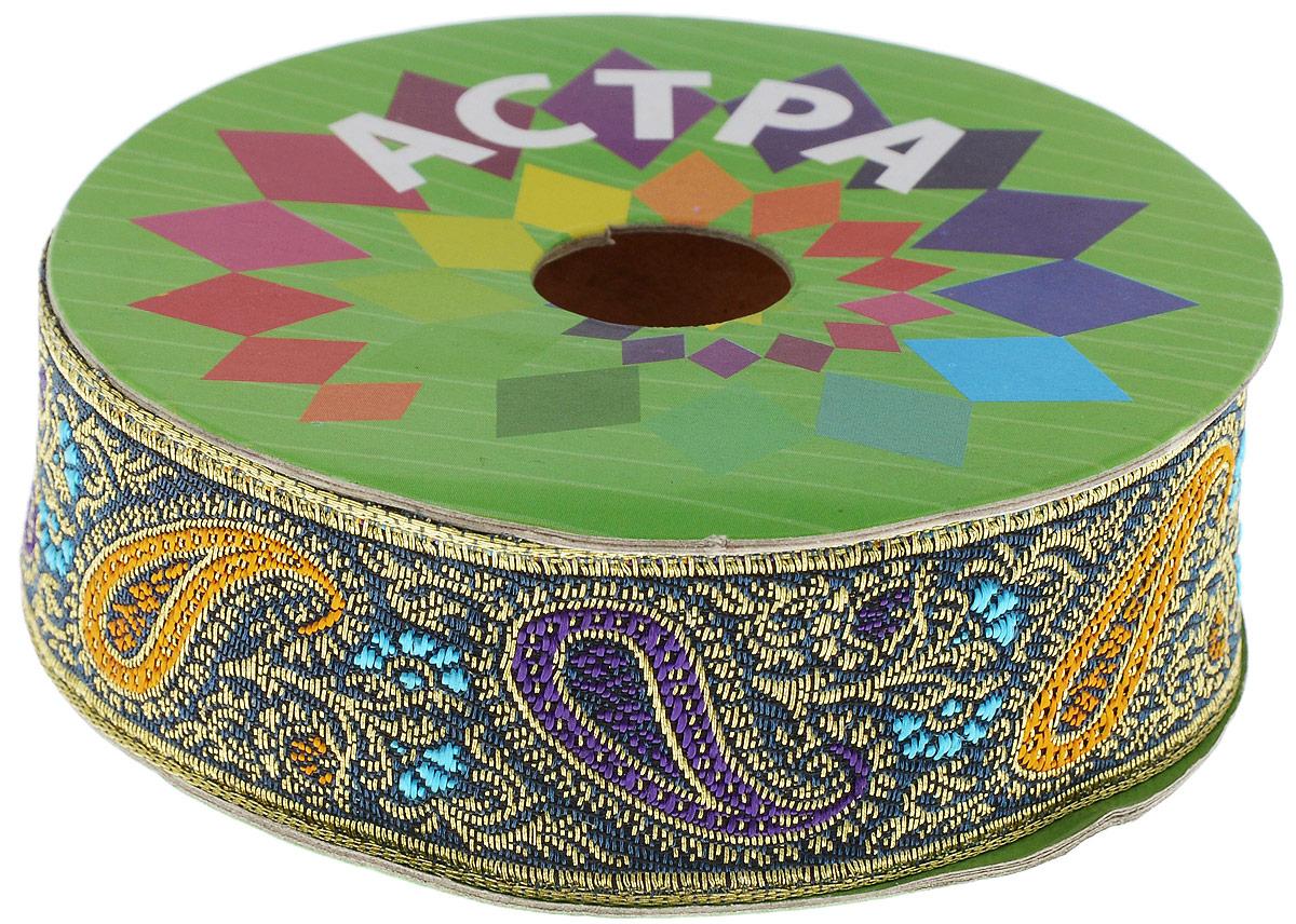 Тесьма декоративная Астра, цвет: зеленый, фиолетовый, золотистый, ширина 3 см, длина 9 м7703443_С11Декоративная тесьма Астра выполнена из текстиля и оформлена оригинальным орнаментом. Такая тесьма идеально подойдет для оформления различных творческих работ таких, как скрапбукинг, аппликация, декор коробок, открыток и многое другое. Тесьма наивысшего качества и практична в использовании. Она станет незаменимом элементов в создании рукотворного шедевра. Ширина: 3 см. Длина: 9 м.