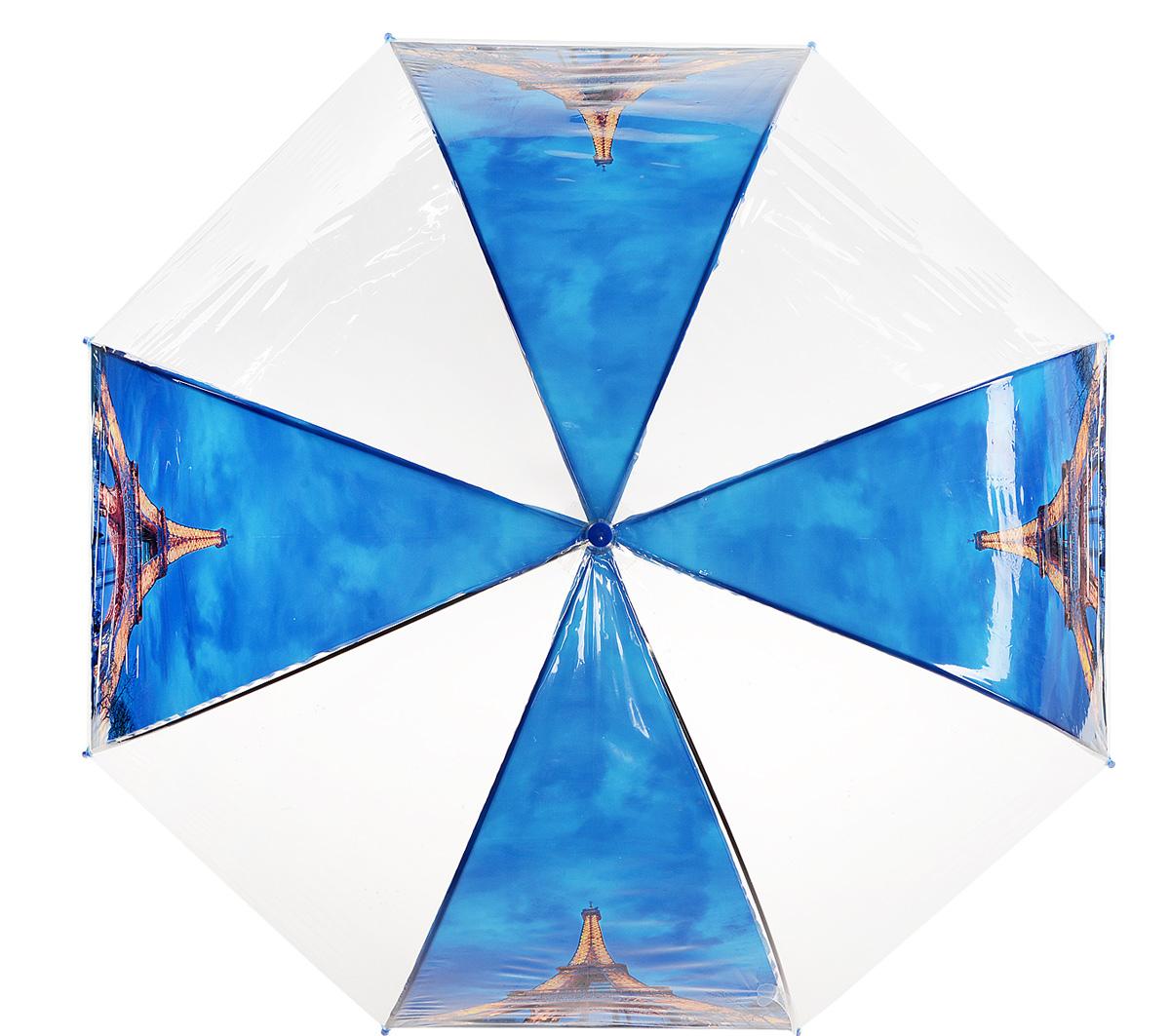 Зонт Kawaii Factory Paris Night, цвет: прозрачный, синий. KW042-000163KW042-000163Стильный прозрачный зонт-трость Paris Night от Kawaii Factory станет вам бесценным помощником в любую непогоду. Этому аксессуару не страшен ни проливной дождь, ни сильный ветер. Его главные преимущества - большой купол и прочная конструкция. Зонт состоит из стержня и 8 спиц, изготовленных из металла. Купол изготовлен из качественного ПВХ, который надежно защитит вас от дождя. Зонт дополнен удобной ручкой из пластика, которая выполнена в виде крючка. Также зонт имеет пластиковый наконечник, который устраняет попадание воды на стержень и уберегает зонт от повреждений. Изделие имеет полуавтоматический механизм сложения: купол открывается нажатием кнопки на ручке, а складывается вручную до характерного щелчка. Зонт закрывается хлястиком на кнопку. Яркий прозрачный зонт-трость Paris Night примечателен еще и стильным рисунком. На нем красуется известная всему миру парижская достопримечательность. С такой картиной затеряться в толпе просто невозможно.