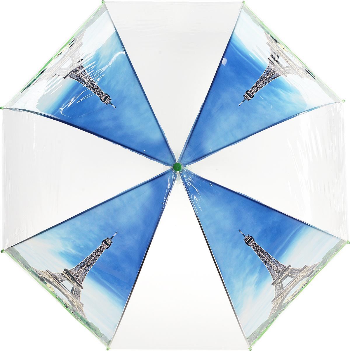 Зонт Kawaii Factory Paris Day, цвет: прозрачный, голубой, зеленый. KW042-000164KW042-000164Стильный прозрачный зонт-трость Paris Day от Kawaii Factory станет вам бесценным помощником в любую непогоду. Этому аксессуару не страшен ни проливной дождь, ни сильный ветер. Его главные преимущества - большой купол и прочная конструкция. Зонт состоит из стержня и 8 спиц, изготовленных из металла. Купол изготовлен из качественного ПВХ, который надежно защитит вас от дождя. Зонт дополнен удобной ручкой из пластика, которая выполнена в виде крючка. Также зонт имеет пластиковый наконечник, который устраняет попадание воды на стержень и уберегает зонт от повреждений. Изделие имеет полуавтоматический механизм сложения: купол открывается нажатием кнопки на ручке, а складывается вручную до характерного щелчка. Зонт закрывается хлястиком на кнопку. Яркий прозрачный зонт-трость Paris Day примечателен еще и стильным рисунком. На нем красуется известная всему миру парижская достопримечательность. С такой картиной затеряться в толпе просто невозможно.
