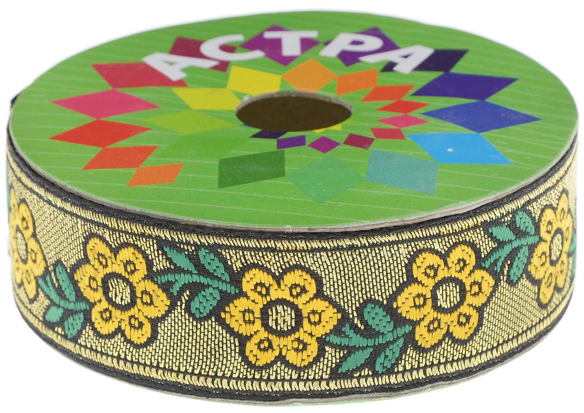 Тесьма декоративная Астра, цвет: желтый, золото (61), ширина 3 см, длина 9 м. 77034257703425_золото/61Декоративная тесьма Астра выполнена из текстиля и оформлена оригинальным жаккардовым орнаментом. Такая тесьма идеально подойдет для оформления различных творческих работ таких, как скрапбукинг, аппликация, декор коробок и открыток и многое другое. Тесьма наивысшего качества и практична в использовании. Она станет незаменимым элементом в создании рукотворного шедевра. Ширина: 3 см. Длина: 9 м.