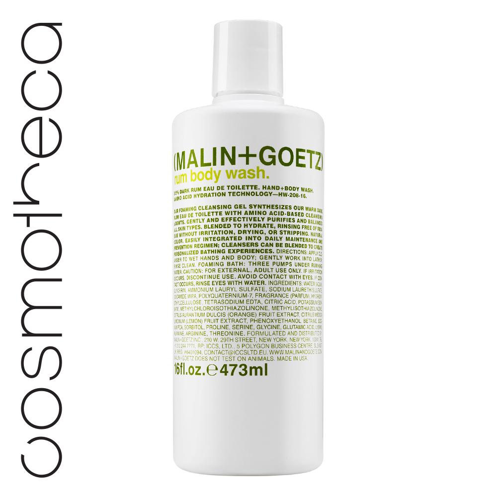 Malin+Goetz Гель для душа Ром 473 млMG144Увлажняющая формула на основе аминокислот. Мягкие гели бережно очищают кожу, оставляя тонкий аромат. Моющая основа – аммониум лаурил сульфат и содиум лаурет сульфат. Эфирные масла лимона и сладкого апельсина освежают, восстанавливают, повышают эластичность кожи, поднимают настроение.