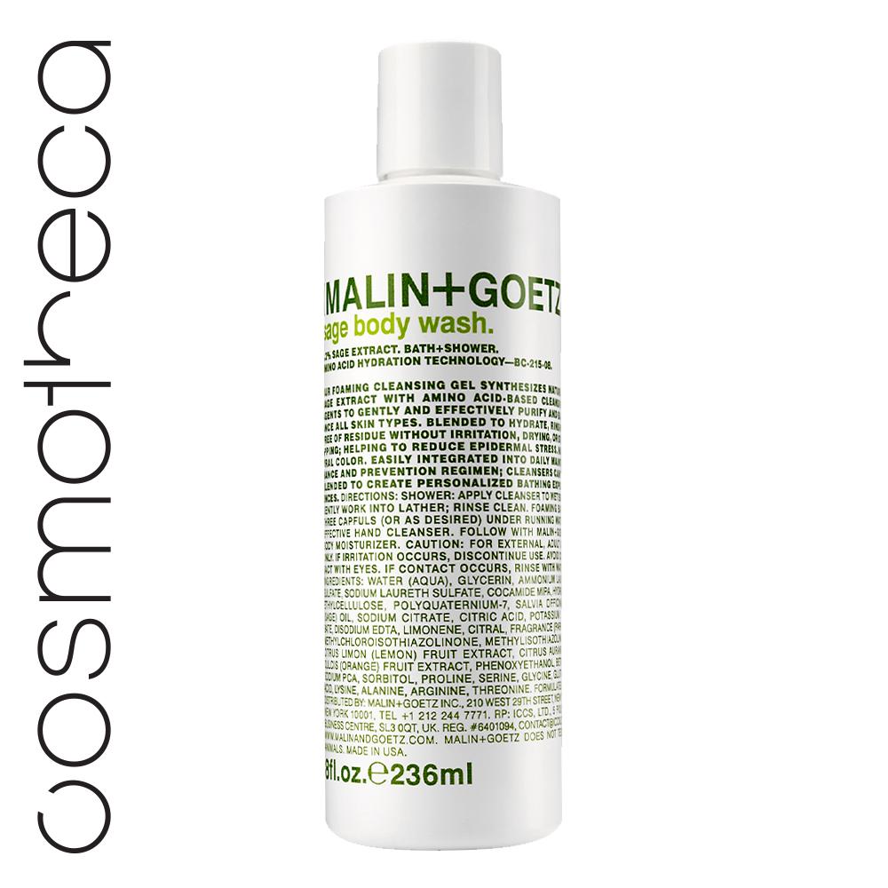 Malin+Goetz Гель для душа Шалфей 236 млMG149Увлажняющая формула на основе аминокислот. Мягкие гели бережно очищают кожу, оставляя тонкий аромат. Моющая основа – аммониум лаурил сульфат и содиум лаурет сульфат. Эфирные масла лимона и сладкого апельсина освежают, восстанавливают, повышают эластичность кожи, поднимают настроение. Экстракт шалфея улучшает состояние жирной кожи и регулирует потоотделение, снимает усталость и улучшает память.