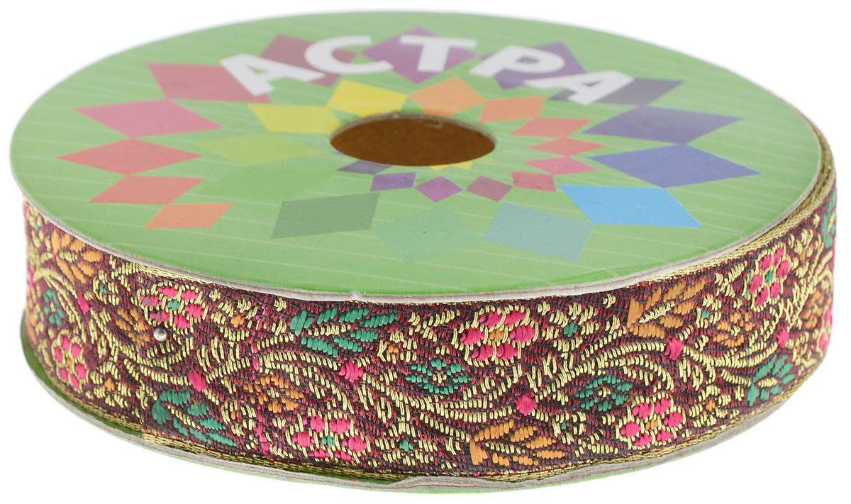 Тесьма декоративная Астра, цвет: бордовый, розовый (С1), ширина 2,5 см, длина 9 м. 77034347703434_С1Декоративная тесьма Астра выполнена из текстиля и оформлена оригинальным орнаментом. Такая тесьма идеально подойдет для оформления различных творческих работ таких, как скрапбукинг, аппликация, декор коробок и открыток и многое другое. Тесьма наивысшего качества и практична в использовании. Она станет незаменимым элементом в создании рукотворного шедевра. Ширина: 2,5 см. Длина: 9 м.