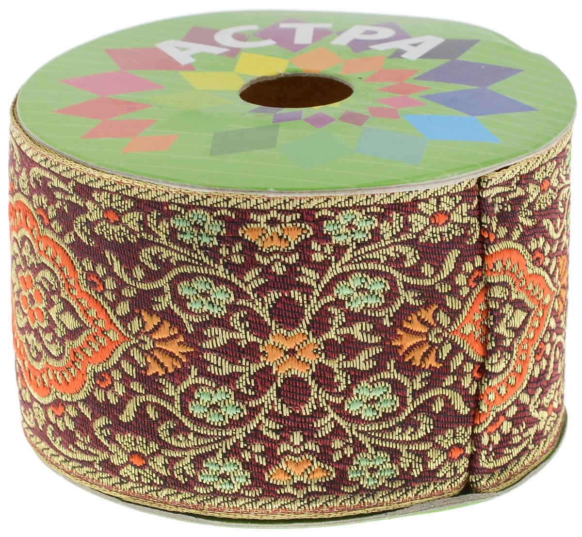 Тесьма декоративная Астра, цвет: бордовый (С10), ширина 5,5 см, длина 9 м. 77034227703422_C10Декоративная тесьма Астра выполнена из текстиля и оформлена оригинальным жаккардовым орнаментом с цветочными мотивами. Такая тесьма идеально подойдет для оформления различных творческих работ таких, как скрапбукинг, аппликация, декор коробок и открыток и многое другое. Тесьма наивысшего качества и практична в использовании. Она станет незаменимым элементом в создании рукотворного шедевра.