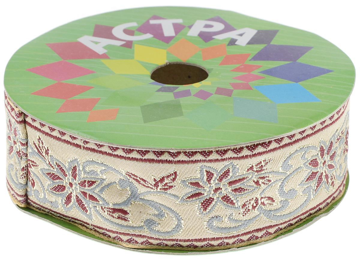 Тесьма декоративная Астра, цвет: бежевый, ширина 4 см, длина 9 м. 77034517703451_бежевыйДекоративная тесьма Астра выполнена из текстиля и оформлена оригинальным жаккардовым орнаментом. Такая тесьма идеально подойдет для оформления различных творческих работ таких, как скрапбукинг, аппликация, декор коробок и открыток и многое другое. Тесьма наивысшего качества и практична в использовании. Она станет незаменимым элементом в создании рукотворного шедевра. Ширина: 4 см. Длина: 9 м.