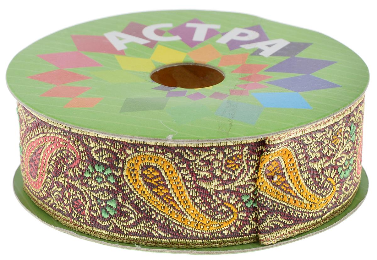 Тесьма декоративная Астра, цвет: бордовый (С10), ширина 3 см, длина 9 м. 77034237703423_C10Декоративная тесьма Астра выполнена из текстиля и оформлена оригинальным жаккардовым орнаментом. Такая тесьма идеально подойдет для оформления различных творческих работ таких, как скрапбукинг, аппликация, декор коробок и открыток и многое другое. Тесьма наивысшего качества и практична в использовании. Она станет незаменимым элементом в создании рукотворного шедевра.
