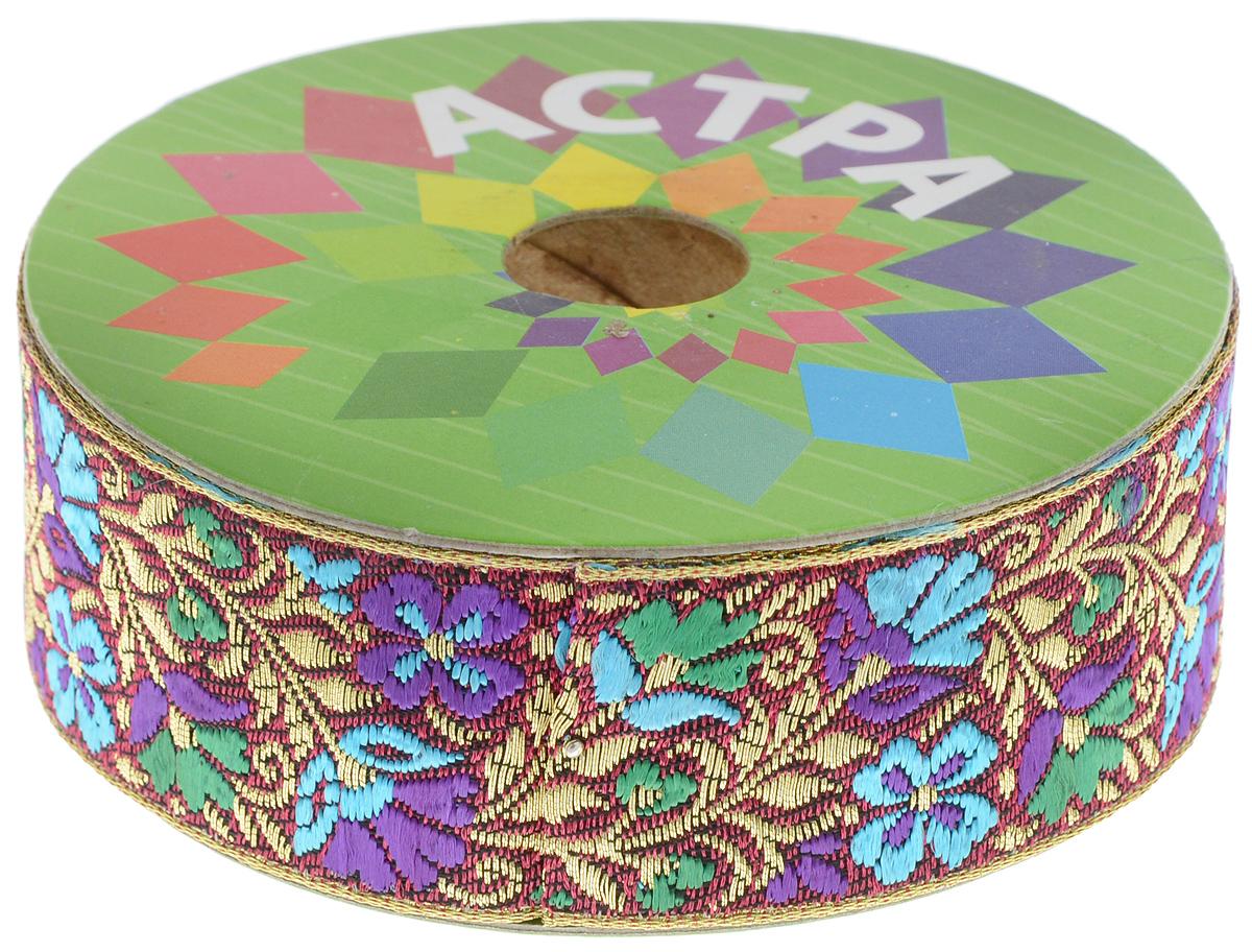 Тесьма декоративная Астра, цвет: бордовый, синий (С12), ширина 3 см, длина 9 м. 77034437703443_С12Декоративная тесьма Астра выполнена из текстиля и оформлена оригинальным жаккардовым орнаментом. Такая тесьма идеально подойдет для оформления различных творческих работ таких, как скрапбукинг, аппликация, декор коробок и открыток и многое другое. Тесьма наивысшего качества и практична в использовании. Она станет незаменимым элементом в создании рукотворного шедевра. Ширина: 3 см. Длина: 9 м.
