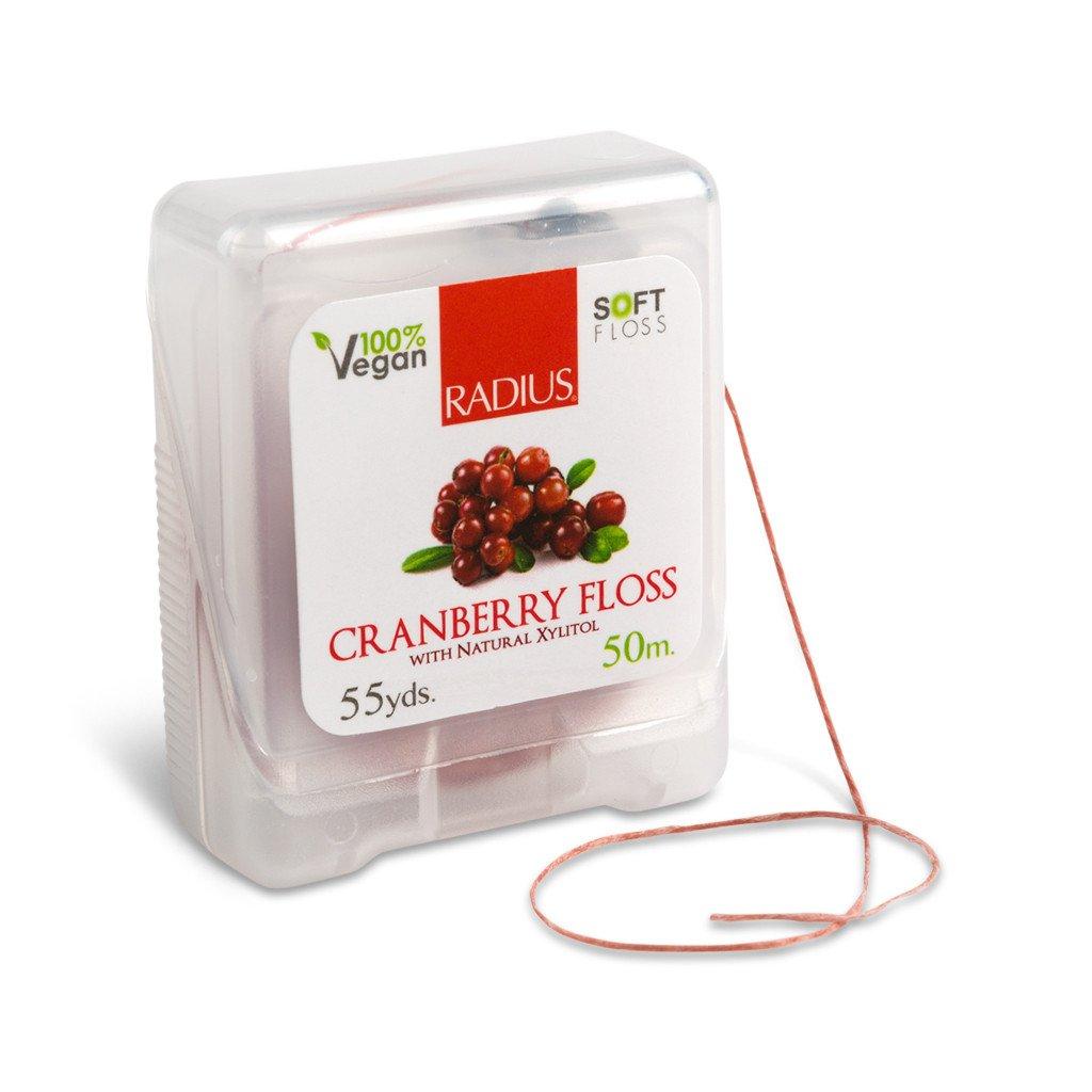 Radius, Натуральная шелковая зубная нить со вкусом клюквы/Natural silk Granberry Floss,50м