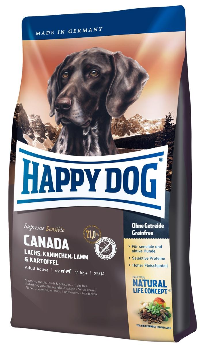 Корм сухой Happy Dog Канада для собак средних и крупных пород, лосось, кролик, ягненок, 1 кг03559Корм Happy Dog Канада, не содержащий злаков, оптимально подходит для чувствительных собак. Корм разработан для собак с повышенной потребностью в энергии. Он прекрасно подходит так же для молодых собак начиная с 6 месяца жизни. Исключительно вкусный полнорационный корм содержит мясо лосося, кролика и ягненка, а также картофель, не содержащий глютен. Состав: картофельные хлопья (47%), лосось (10%), белок из мяса кролика (10%), белок из мяса ягненка(10%), птичий жир, картофельный белок, свекольная пульпа, гидролизат печени, масло из семян подсолнечника (1,5%), яблочная пульпа (1,0%), клетчатка, сухое цельное яйцо, рапсовое масло (0,5%), семя льна (0,4%), хлорид натрия дрожжи, хлорид калия, клюква (0,22%),морские водоросли (0,15%), мясо моллюска (0,04%), Юкка Шидигера (0,02%), расторопша, артишок, одуванчик, имбирь, березовый лист, крапива, ромашка, кориандр, розмарин, шалфей, корень солодки, тимьян, дрожжи (экстрагированные), (общий объем...