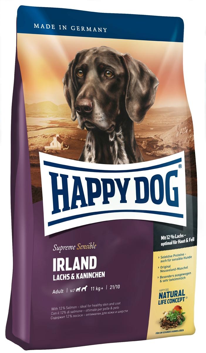 Корм сухой Happy Dog Ирландия для собак средних и крупных пород, с лососем и кроликом, 1 кг03552Happy Dog Ирландия - полнорационный корм для всех взрослых собак весом от 11 кг с нормальной потребностью в энергии. Благодаря тщательно отобранным компонентам (без белка из мяса ягненка и птицы, без риса, сои и пшеницы), особо бережной технологии приготовления и оптимизированному уровню белков и калорий корм отлично подходит также для целенаправленного кормления чувствительных собак с их специфическими потребностями. Специальная форма крокет соответствует форме челюстей собак средних и крупных пород. Состав: ячмень, лосось (12%), кролик (9%), мука из цельных зерен овса, картофельные хлопья, птичий жир, гидролизат печени, фосфат дикальция, свекольная пульпа, яблочная пульпа (0,8%), сухое цельное яйцо, хлорид натрия, дрожжи, хлорид калия, морские водоросли (0,15%), семя льна (0,15%), мясо моллюска (0,05%), Юкка Шидигера (0,02%), расторопша, артишок, одуванчик, имбирь, березовый лист, крапива, ромашка, кориандр, розмарин, шалфей, корень...