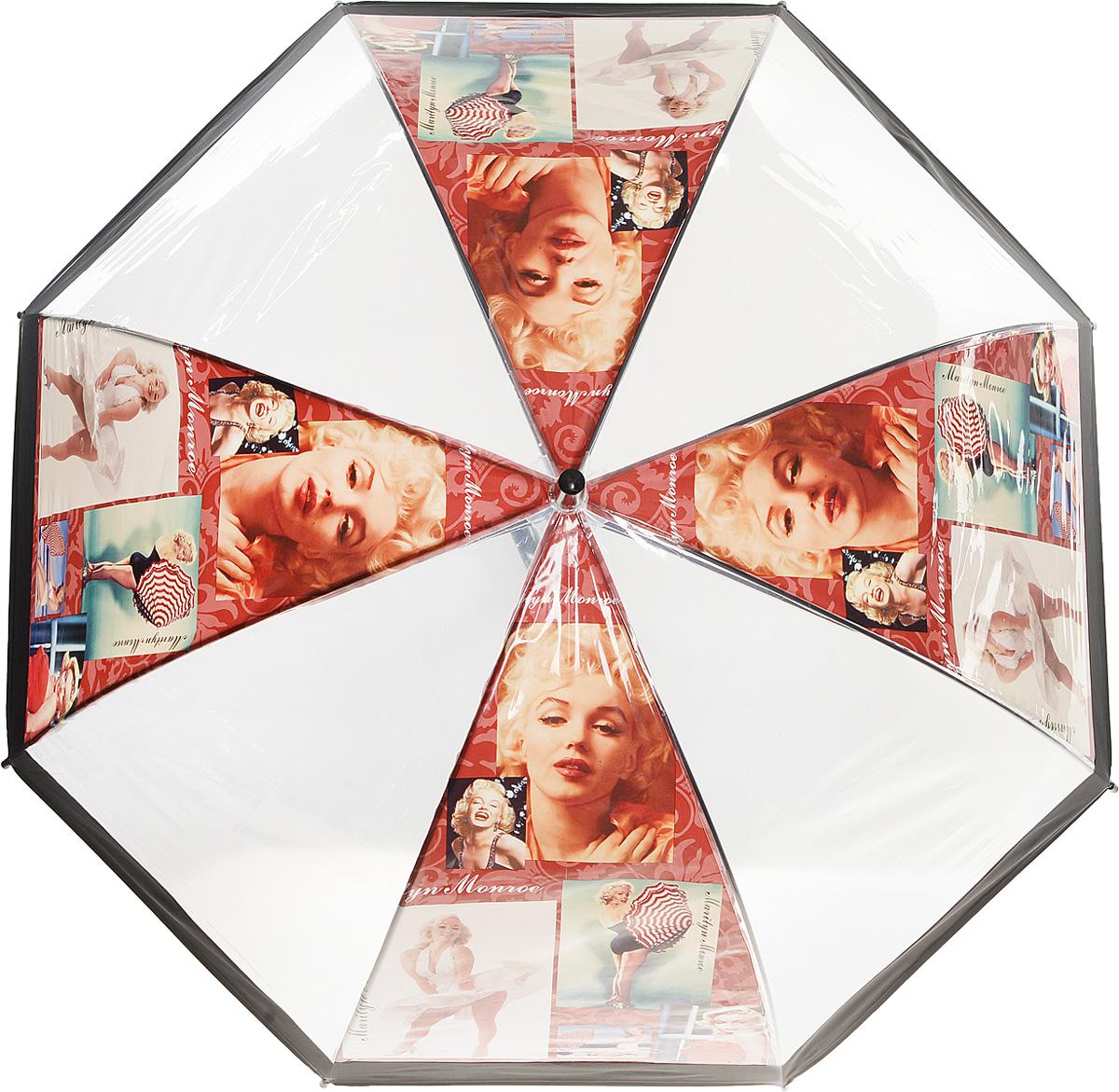 Зонт женский Kawaii Factory Vintage Marilyn, цвет: прозрачный. KW042-000165KW042-000165Элегантный прозрачный зонт-трость Vintage Marilyn от Kawaii Factory с изображением легендарной красавицы Мерлин Монро и глубоким куполом позволит вам выглядеть стильно в ненастную погоду. Зонт состоит из стержня и 8 спиц, изготовленных из металла. Купол изготовлен из качественного ПВХ, который надежно защитит вас от дождя. Зонт дополнен удобной ручкой из пластика, которая выполнена в виде крючка. Также зонт имеет пластиковый наконечник, который устраняет попадание воды на стержень и уберегает зонт от повреждений. Изделие имеет полуавтоматический механизм сложения: купол открывается нажатием кнопки на ручке, а складывается вручную до характерного щелчка. Зонт закрывается хлястиком на кнопку. Зонт Vintage Marilyn - лучшее украшение не только для яркой блондинки, жгучей брюнетке он также придется по вкусу. Каждая модница с таким аксессуаром будет привлекать восторженные взгляды окружающих.