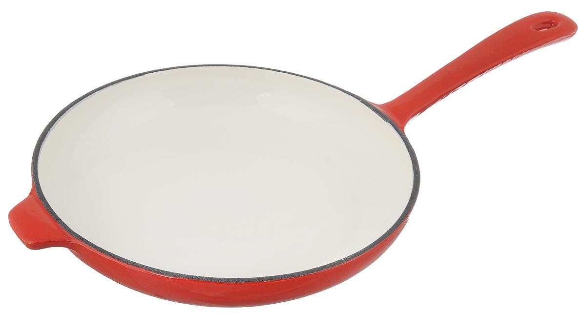Сковорода чугунная Mayer & Boch, цвет: красный. Диаметр 28 см. 2050920509Сковорода Mayer & Boch выполнена из высококачественного эмалированного чугуна. Чугун - один из лучших материалов, который равномерно распределяет тепло и удерживает его. Он устойчив к механическим повреждениям и невероятно прочен. Эмаль защищает чугун от коррозии и появления ржавчины, не впитывает запахи, облегчает уход за посудой. Посуда из эмалированного чугуна идеальна для запекания, жарки, тушения, варки, томления, также может использоваться для маринования. Сковорода имеет и внутреннее, и внешнее эмалированное покрытие. Внешнее покрытие цветное, что придает посуде эстетичный внешний вид. Длинная ручка обеспечивает безопасное использование. Сковорода подходит для использования на всех типах плит, кроме индукционных. Можно использовать в духовке, а также мыть в посудомоечной машине. Высота стенки: 4 см. Толщина стенки: 4 мм. Толщина дна: 4 мм. Диаметр дна: 22 см. Длина ручки: 19 см.