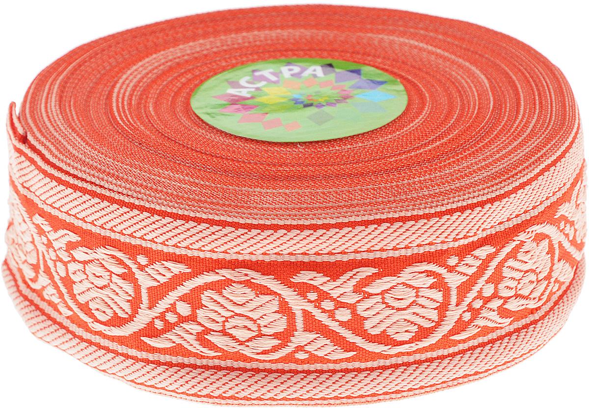 Тесьма декоративная Астра, цвет: красный, ширина 3,5 см, длина 16,4 м. 77033487703348_84/79LДекоративная тесьма Астра выполнена из текстиля и оформлена оригинальным орнаментом. Такая тесьма идеально подойдет для оформления различных творческих работ таких, как скрапбукинг, аппликация, декор коробок и открыток и многое другое. Тесьма наивысшего качества и практична в использовании. Она станет незаменимым элементом в создании рукотворного шедевра. Ширина: 3,5 см. Длина: 16,4 м.