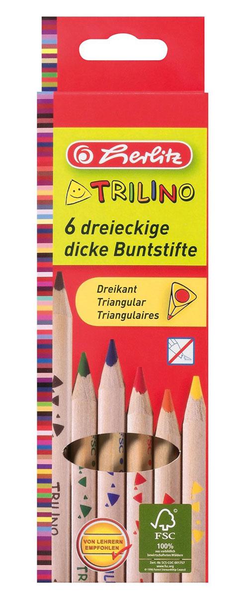 Herlitz Набор цветных карандашей Trilino 6 шт10103935Набор цветных карандашей Herlitz Trilino поможет создать чудные картины вашему юному художнику. Мягкий грифель легко рисует на бумаге и не царапает ее, устойчив к механическим деформациям и легко затачивается. Нежный неокрашенный трехгранный корпус изготовлен из натуральной древесины и обеспечивает максимальный уровень комфорта. В набор входят 6 ярких цветных карандашей. С таким набором карандашей от Herlitz будет интересно рисовать не только вашему малышу, но и вам.