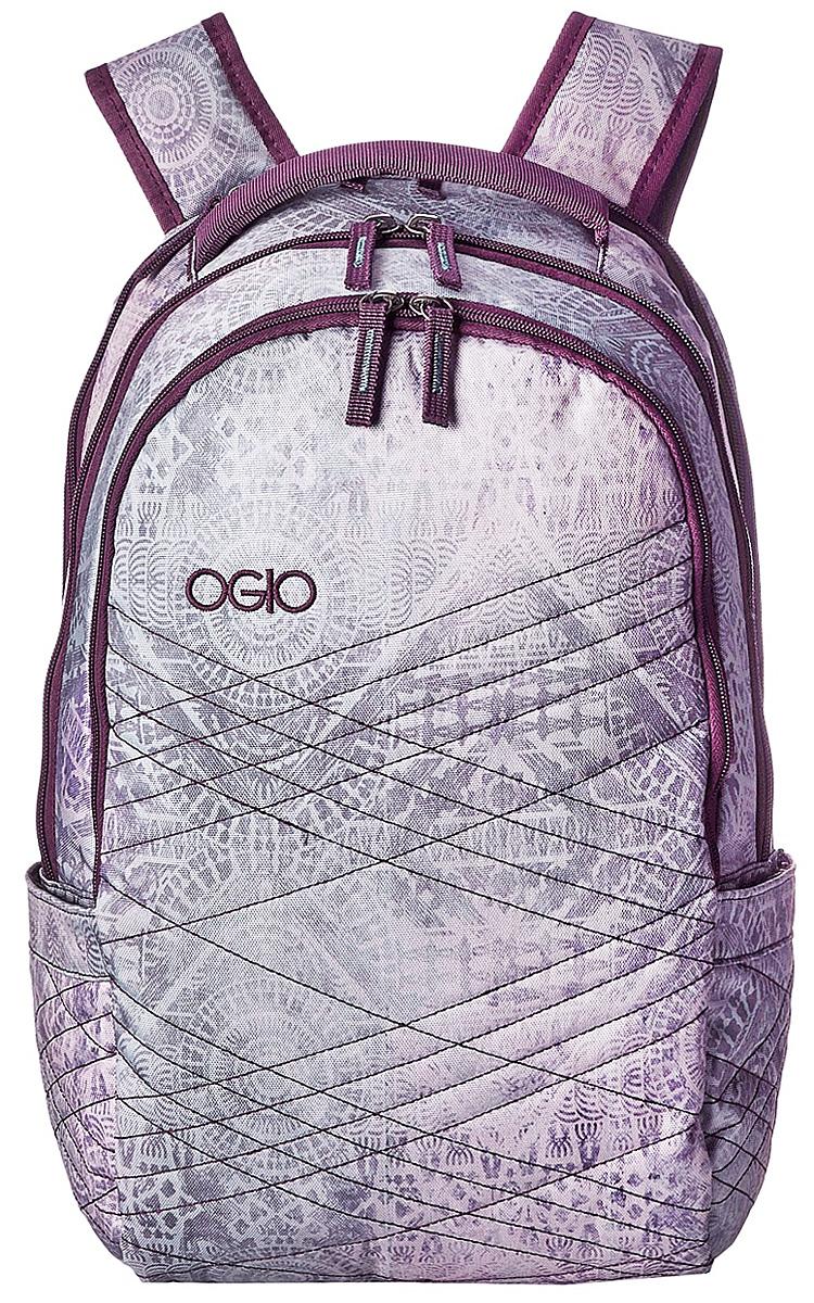 Рюкзак городской OGIO Synthesis Pack, цвет: фиолетовый, сиреневый, серый, 18 л111107-Стильный женский рюкзак OGIO Synthesis Pack выполнен из плотного полиэстера и оформлен оригинальным принтом. На лицевой стороне расположен удобный врезной карман на молнии с органайзером внутри и пластиковом карабином для фонаря или ключей. Рюкзак имеет два вместительных отделения: в одном содержится два сетчатых накладных кармана без застежки, второе отделение предназначено для ноутбука 15 с накладным мягким карманом без застежки для планшета. По бокам имеются два кармана с резинкой. Сверху с ручкой имеется небольшой карман для мелочей на застежке-молнии. Рюкзак оснащен широкими регулирующими лямками и удобной ручкой для переноски в руках. Внутренняя сторона лямок оснащена сетчатыми вставками, которые обеспечивают воздухопроницаемость и комфорт во время носки. Стильный городской рюкзак идеально подойдет для повседневного использования.