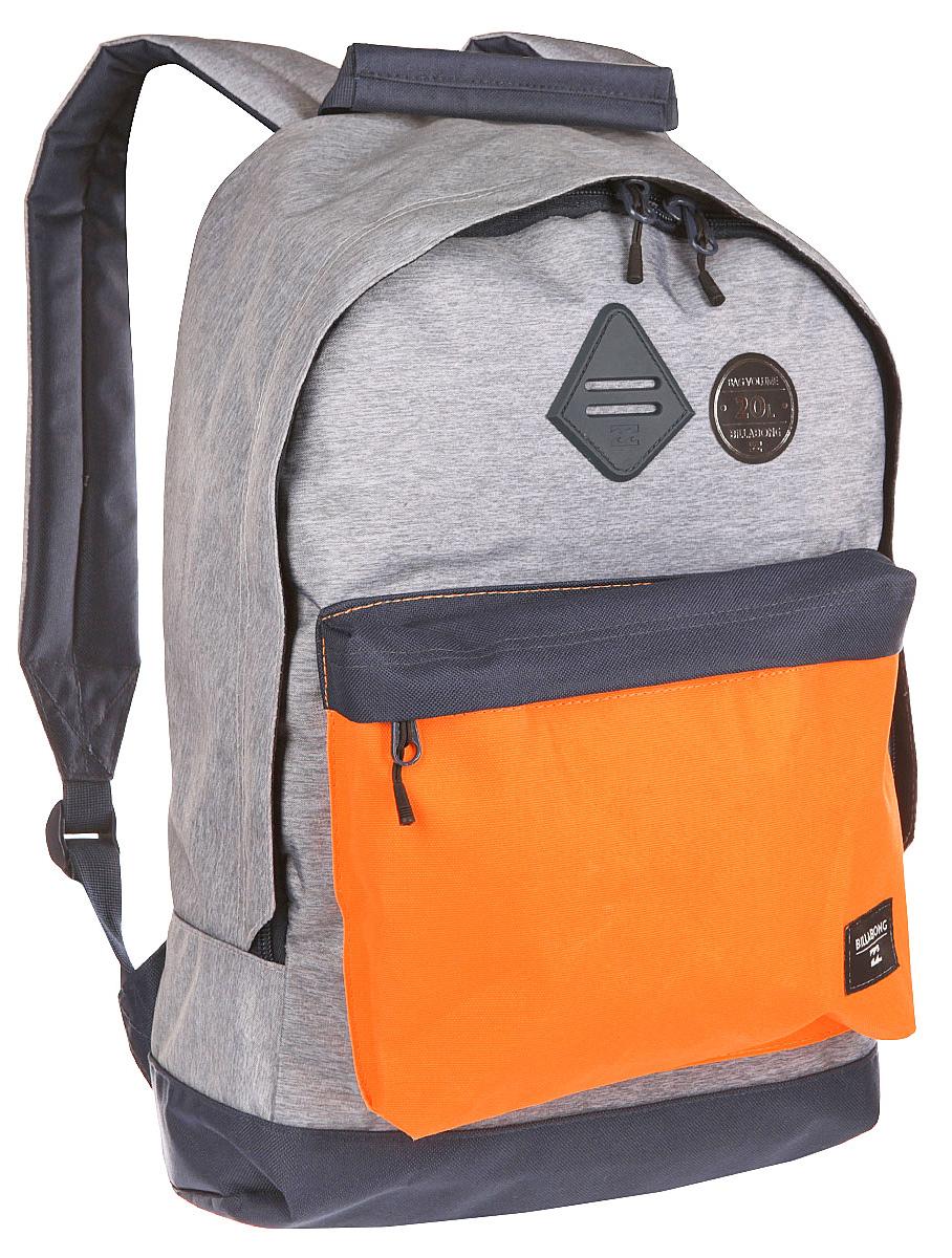 Рюкзак городской Billabong All Day, цвет: светло-серый , 20 лW5BP01Практичный вместительный рюкзак, готовый вписаться в Ваш стиль и вместить все Ваши вещи, необходимые для учебы, работы или просто прогулок по городу.