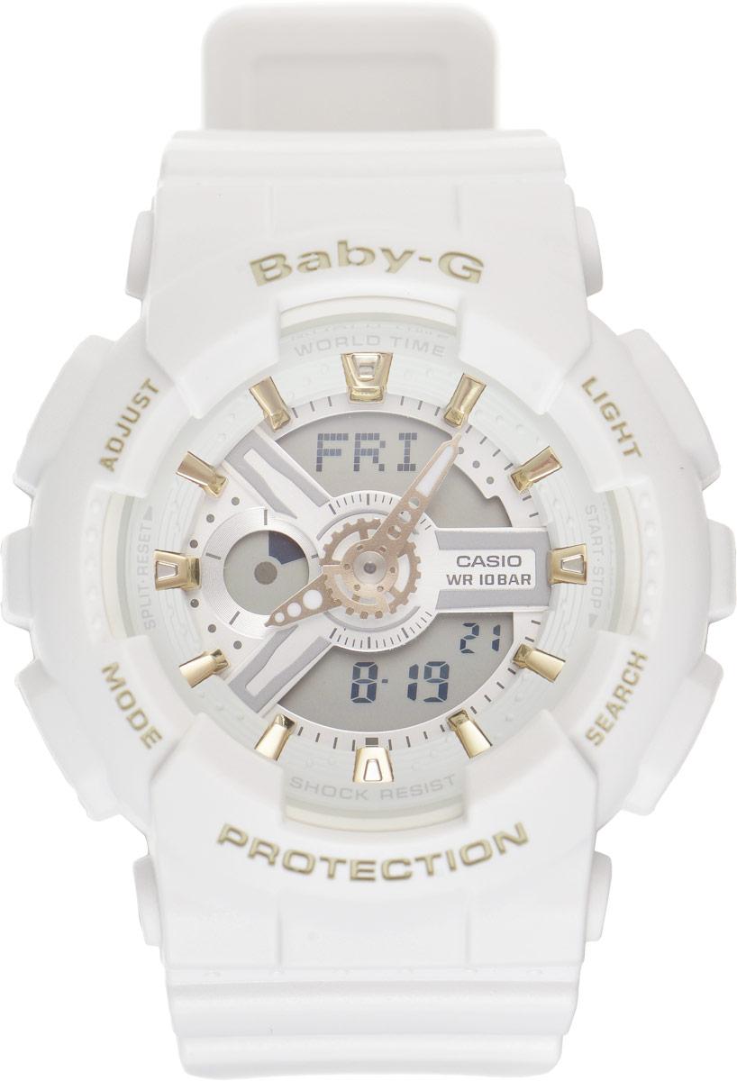 Часы наручные женские Casio G-Shock, цвет: белый. BA-110GA-7A1BA-110GA-7A1Стильные часы Baby-G сочетают в себе ультрамодные цвета с приглушенным матовым покрытием. Золотистые металлические детали, используемые для меток и часовых элементов, выступают привлекательными акцентами. Часы будут пользоваться популярностью среди девушек, ведущих активный образ жизни. Ударопрочная конструкция защищает механизм от ударов и вибрации. Корпус выполнен из высококачественного пластика и оснащен минеральным стеклом, устойчивым к возникновению царапин. Резиновый ремешок имеет надежную классическую застежку. Циферблат подсвечивается светодиодом, а умная функция задержки отключения освещает циферблат еще несколько секунд после отпускания кнопки освещения. Помимо этого стоит отметить еще люминесцентный состав на стрелках и между часовых меток с ярким послесвечением даже после кратковременного воздействия света. Часы имеют будильник с функцией повтора сигнала (Snooze). Среди удобных функций также имеется секундомер с точностью показаний 1/100 с и ...