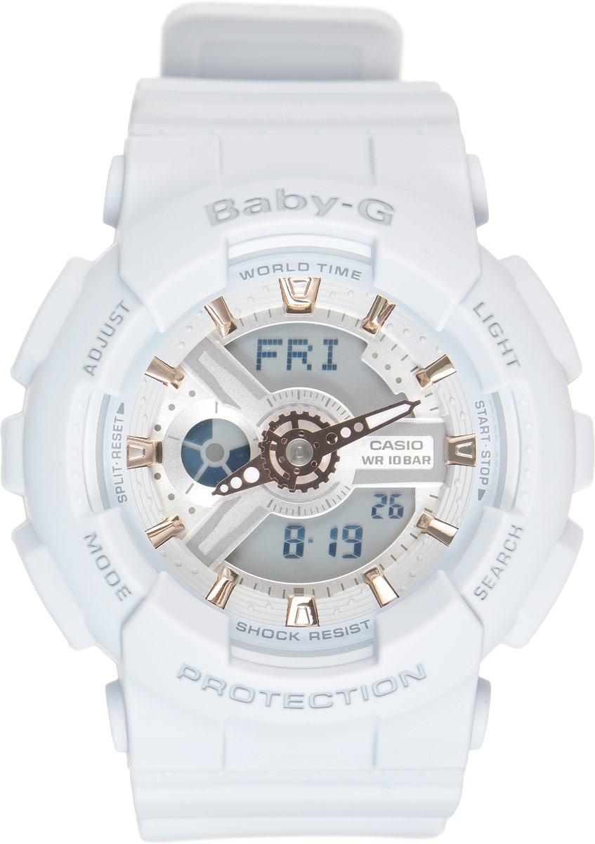 Часы наручные женские Casio G-Shock, цвет: нежно-голубой. BA-110GA-8ABA-110GA-8AСтильные часы Casio G-Shock сочетают в себе ультрамодные цвета с приглушенным матовым покрытием. Золотистые металлические детали, используемые для меток и часовых элементов, выступают привлекательными акцентами. Часы будут пользоваться популярностью среди девушек, ведущих активный образ жизни. Ударопрочная конструкция защищает механизм от ударов и вибрации. Корпус выполнен из высококачественного пластика и оснащен минеральным стеклом, устойчивым к возникновению царапин. Резиновый ремешок имеет надежную классическую застежку. Изделие оснащено кварцевым механизмом с двойной цифро-аналоговой индикацией. Имеет степень водозащиты равную 100WR, что отлично подходит для плавания и ныряния. Циферблат подсвечивается светодиодом, а умная функция задержки отключения освещает циферблат еще несколько секунд после отпускания кнопки освещения. Помимо этого стоит отметить еще люминесцентный состав на стрелках и между часовых меток с ярким послесвечением даже после...