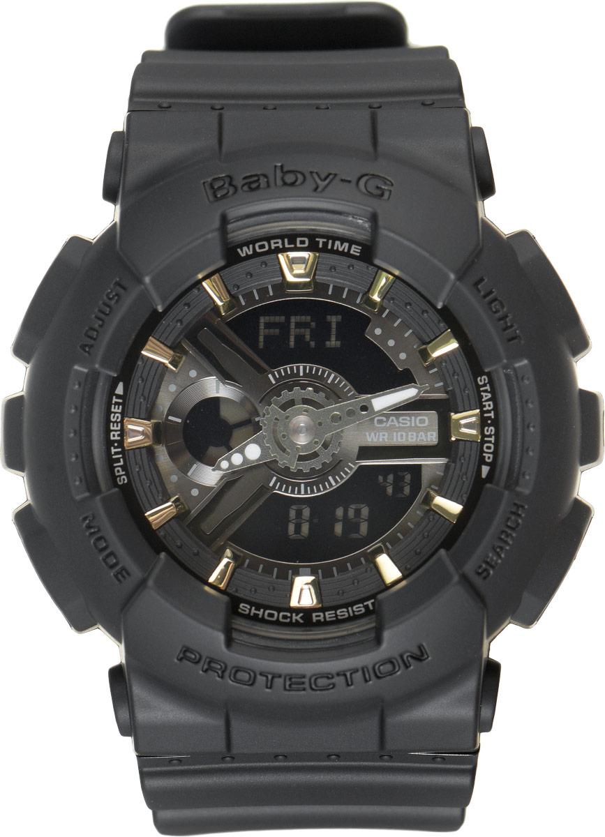 Часы наручные женские Casio G-Shock, цвет: черный. BA-110GA-1ABA-110GA-1AСтильные часы Baby-G сочетают в себе ультрамодные цвета с приглушенным матовым покрытием. Золотистые металлические детали, используемые для меток и часовых элементов, выступают привлекательными акцентами. Часы будут пользоваться популярностью среди девушек, ведущих активный образ жизни. Ударопрочная конструкция защищает механизм от ударов и вибрации. Корпус выполнен из высококачественного пластика и оснащен минеральным стеклом, устойчивым к возникновению царапин. Резиновый ремешок имеет надежную классическую застежку. Изделие оснащено кварцевым механизмом с двойной цифро-аналоговой индикацией. Имеет степень водозащиты равную 100WR, что отлично подходит для плавания и ныряния. Циферблат подсвечивается светодиодом, а умная функция задержки отключения освещает циферблат еще несколько секунд после отпускания кнопки освещения. Помимо этого стоит отметить еще люминесцентный состав на стрелках и между часовых меток с ярким послесвечением даже после...