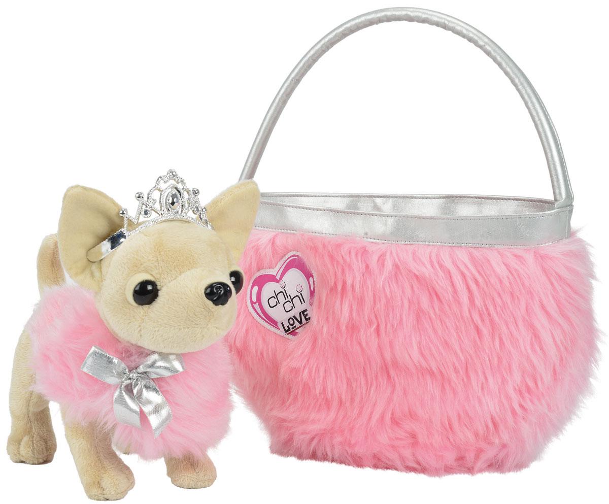 Simba Мягкая игрушка Чихуахуа Beauty Princess с сумкой 21 см5890618Собачка Simba Beauty Princess станет любимицей каждой девочки любого возраста. Эта плюшевая модница будто сошла с подиума парижского дома мод. Стильный наряд только подчёркивает безупречный вкус этой модницы. У такого восхитительного щенка должна быть хозяйкой только принцесса. Такую собачку можно брать с собой повсюду и носить в сумочке, идущей в комплекте. Собачка очень мягкая, плюшевая, со сверкающими глазками. Также в комплекте пушистая розовая сумочка.