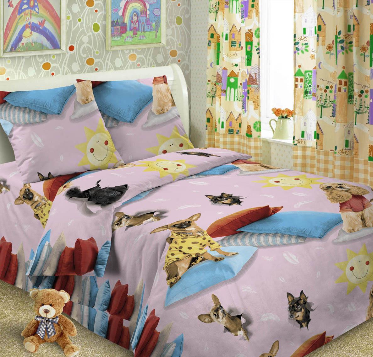 Letto Комплект детского постельного белья Догги цвет розовый
