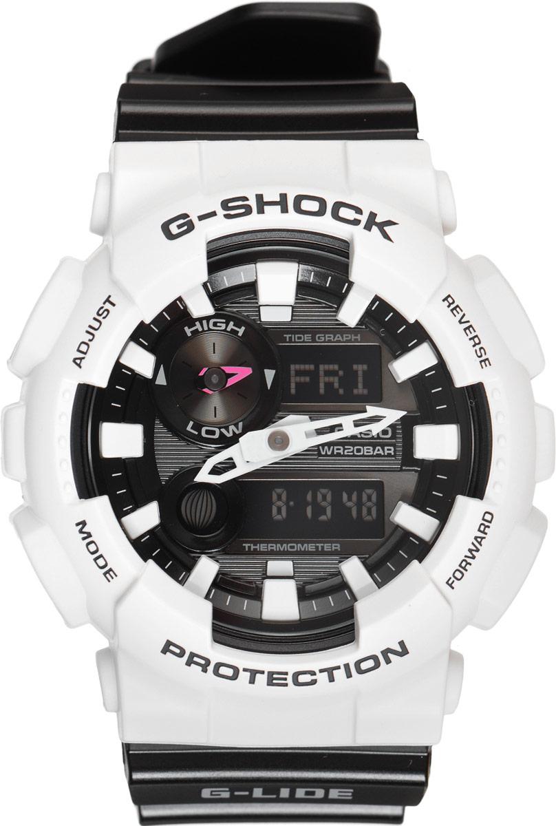 Часы наручные мужские Casio G-Shock, цвет: белый, черный. GAX-100B-7AGAX-100B-7AУдаропрочные часы G-Lide имеют все свойства и преимущества знаменитых G-Shock от Casio и, в соответствии с морской концепцией, отображают высоту приливов/отливов и лунные фазы. Двойная цифро-аналоговая индикация и встроенный датчик температуры - эти часы определенно подойдут любителям экстремальных видов спорта. Ударопрочная конструкция защищает механизм от ударов и вибрации. Изделие защищено от магнитных полей. Комбинированный корпус выполнен из нержавеющей стали 316L и композитного полимерного материала, оснащен минеральным стеклом, устойчивым к возникновению царапин. Ремешок также выполнен из полимерного материала и оснащен надежной классической застежкой с двойным шипом. Циферблат подсвечивается светодиодом, а умная и приятная функция автоподсветки освещает циферблат при повороте часов к лицу. Помимо этого стоит отметить еще люминесцентный состав на стрелках и часовых метках с ярким послесвечением даже после кратковременного воздействия света. Часы...