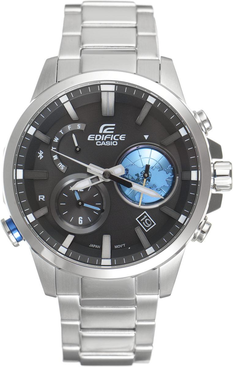 Часы наручные мужские Casio G-Shock, цвет: черный, стальной. EQB-600D-1A2EQB-600D-1A2Часы G-Shock от Casio с внушительным внешним видом предназначены для современных путешественников. Синхронизация со смартфонами по Bluetooth, одновременное отображение времени 2 часовых поясов, многофункциональный кварцевый механизм на солнечных батареях - с этими часами обладатели всех современных смартфонов смогут всегда оставаться на связи и легко найти свои гаджеты. Ударопрочная конструкция защищает механизм от ударов и вибрации. Корпус выполнен из нержавеющей стали 316L, имеет поверхность с матовой шлифовкой (сатинированием) и глянцевой полировкой, и оснащен минеральным стеклом, устойчивым к возникновению царапин. Ремешок имеет надежную раскладывающуюся застежку, расстегиваемую в одно касание. Часы оснащены многофункциональным кварцевым механизмом с аналоговой индикацией и возможностью обмена данными со смартфонами по беспроводному каналу связи Bluetooth 4.0 со сверхнизким потреблением энергии. При подключении к смартфону они корректируют текущее время, а также...
