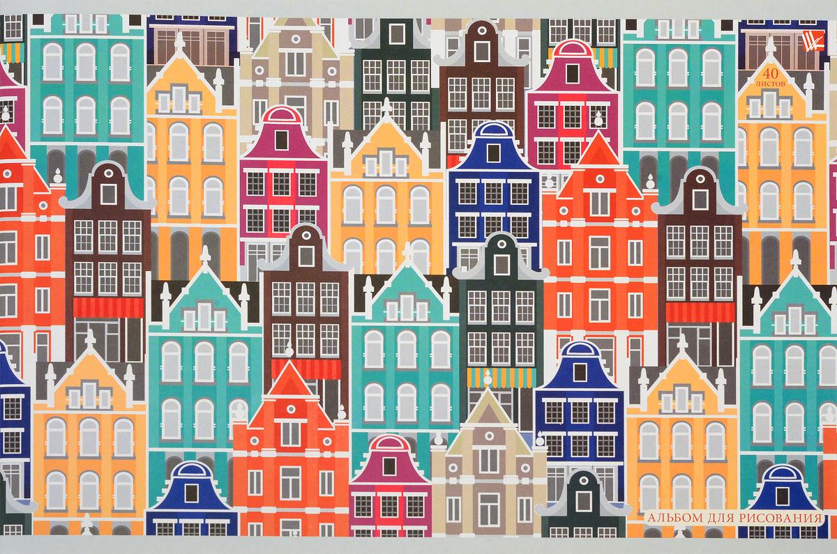 Listoff Альбом для рисования Разноцветные домики 40 листов