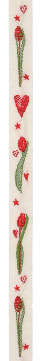 Тесьма декоративная Красные тюльпаны и сердечки, цвет: кремовый, зеленый, красный, 1 м х 10 мм. 3505535055Тесьма декоративная Красные тюльпаны и сердечки выполнена из высококачественного 100% полиэстера. Рисунок выполнен из 100% хлопка. Тесьма Acufactum ткется на старинных станках с использованием перфокарт, которые изготавливаются для каждого вида тесьмы с тончайшей проработкой самых мелких деталей. Это достаточно долгий и трудоемкий процесс, но результат того стоит! Тесьма наивысшего уровня качества, которая очень практична в использовании т.к. выдерживает стирку при температуре 60 градусов. А изобилие дизайнов просто потрясает!
